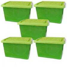 5x Caisse de rangement 60 L à roulettes couvercle, vert, stockage (5x22255)