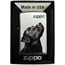 Zippo Schwarzer Labrador Silber Lighter Benzin Sturm Feuerzeug