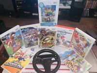 Super Smash MARIO Kart W/ Steering Wheel 8 Game Lot (Nintendo Wii, 2007-2010)