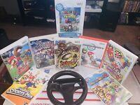 Super Smash MARIO Kart W/ Steering Wheel 8 Game Lot (Nintendo Wii, 2007-2010)