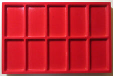 VASSOIO 10 CASELLE 55x95 h15 mm per Monete Medaglie in Floccato rosso MASTERPHIL
