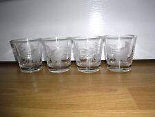 Set Of 4 Vintage Etched Leaves Whisky Tumblers Glasses ~ Excellent