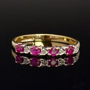 Vintage 9CT Yellow Gold Ruby Diamond Wedding Ring Band Size N1/2(UK) 7(US) R848