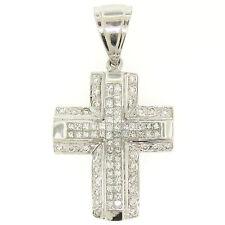 Large 14k White Gold 2.10ct Invisible Set Princess & Round Diamond Cross Pendant