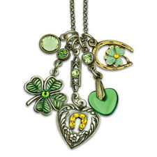 Anne Koplik Lucky Treasures Shamrock Clover Jumble Charm Necklace ~Made in USA~