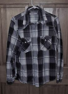 ReClaim S SMALL Men's Plaid Pearl Snap Rockabilly Western Shirt L/S GUC
