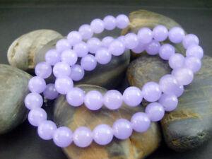 "Genuine 8mm Natural Smooth Lavender Jade Round Gemstone Loose Beads 15""AAA"