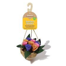 Floral Hanging Paper Flower Wicker Basket Chew Treat Rabbit Hamster Guinea Pig