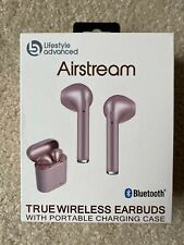 AIRSTREAM TRUE WIRELESS EARBUDS BLUETOOTH W/ CHARGING CASE ROSE GOLD  PINK