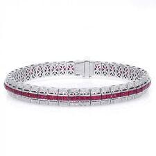 Natural Rubies 4.75 carats set in 14K White Gold Bracelet