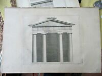 Early Engraving,FRONT ELEVATION,Doric PORTICO,1762,Antiquities of Athens,1st ED.