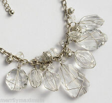 Chico's Signed Necklace Pretty Silver Tone Crystal Dreamer Dangle Beads NWOT