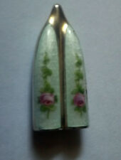 UnUsUaL ANTIQUE  ENAMEL FLORAL~~ KNITTING NEEDLE COVER GUARD~~NOVELTY