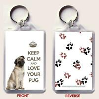 KEEP CALM and LOVE YOUR PUG Keyring Unique Christmas / Birthday Gift Idea