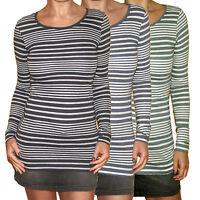 RINGEL/STREIFEN figurbetont Longshirt SHIRT TOP grau blau weiß grün Gr.32 34 36