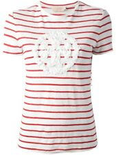 Tory Burch Red And White Striped Shirt with Fleuretes Logo