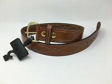 """Bianchi® B9 Fancy Stitched 1.75"""" Tan Leather Gun Belt, Suede Lined, Brass - 36"""""""