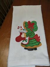 Embroidered Velour Hand Towel - Christmas - Sunbonnett Sue W/Stocking