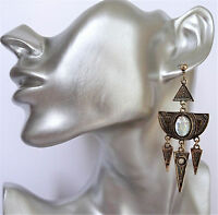 Gorgeous Antiqued Gold Tone Indian Look Dangle Drop Earrings Etched Design