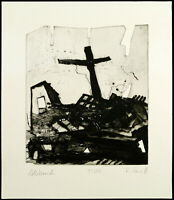 "Kunst in der DDR ""Abbruch"" 1988 Aquatinta Ralph PENZ (*1954) handsigniert, 13/20"