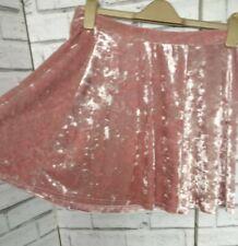 Short Skirt Crushed Velvet Pink Skater Flowy Size 12 Elastic Waist River Island