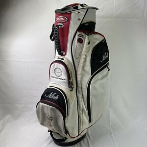 Sun Mountain Range Finder Cart Golf Bag 15 Slots Red, White & Black +Rain Hood