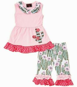 Girls pink cactus boutique ruffle shorts outfit 7 8 NEW western t shirt green