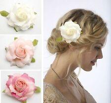 "3.5"" White Pink Rose Flower Hair Clip Brooch Wedding Bridal Corsage Hair Choo"