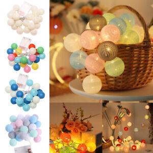 10/20 Balls LED Cotton Ball String Light Christmas Party Home Decor Fairy Lights