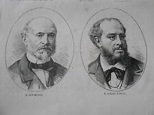 Gravure 1874 - M. Burgmuller et M. Mariano Padilla