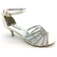 WOMENS PARTY LOW HEEL PROM EVENING WEDDING DIAMANTE SIMULATED SANDALS BRIDAL S-1
