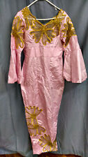 Handmade Women's Full-Length Dress, Heavy Material, Pink/Yellow, Size in Descr.