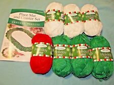 Herrschners Place Mat and Coaster Kit with 7 skeins of Holiday Yarn Green White