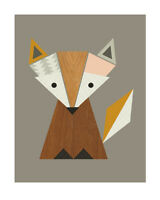 Little Design Haus Geometric Fox Art Print 16 x 20 Inches Officially Licensed