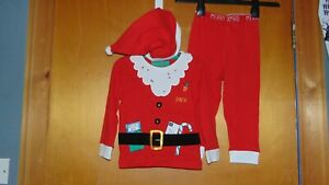 M&S Christmas 'Santa' Pyjamas & Hat 3 Part Set 100%Cotton 18-24m 90cm RedMixBNWT