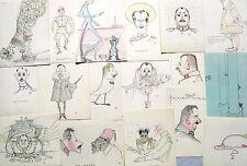 Unbekannt / Konvolut 19 Zeichnungen Karikaturen / um 1920 / Weltkrieg Bayern
