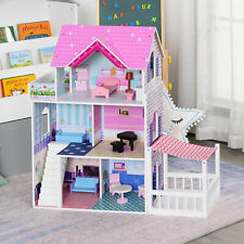 Multi-Platform Children's Wooden Dollhouse with Patio and Furniture, Pink