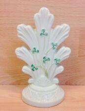 """Belleek """"Shamrock"""" Pattern Triple Flower Bud Vase."""