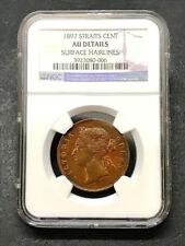 Straits Settlement 1 Cent (1897) Victoria NGC AU Details