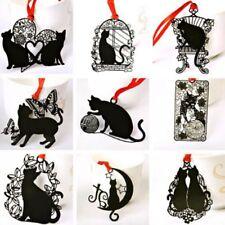 2pcs Marcapáginas Gato Negro hueca señal metal marcador Escuela de papelería