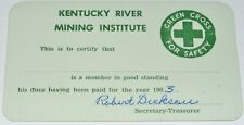 New listing Vintage Kentucky River Mining Institute Green Cross Safety Card Unused Signed