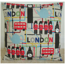 """14"""" Cushion Cover London Big Ben Red Bus Map Guards Teapot Kid's Playroom NEW"""