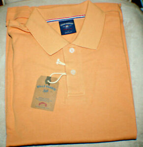 BILLS KHAKIS Supima 100% USA Cotton Polo Shirt, Pique Knit, PAPAYA, SS, LG, NWT
