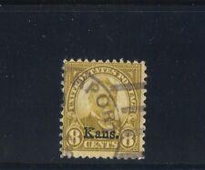 U.S. #666 1929  8 Cent  Grant Kansas Ovprt Used  Olive Green SCV $65