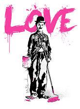 """LOVE"" (CHARLIE CHAPLIN) - MR BRAINWASH - EARLY WORKS - RARE + SIGNED #/250"