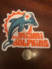 "MIAMI DOLPHINS Vintage Embroidered Iron On Patch RARE 4"" X 3.5"""