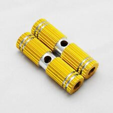 Gold Small Gear-Style Striated Bike Foot Pegs Fixtures 2.67in Long (2-Pack)