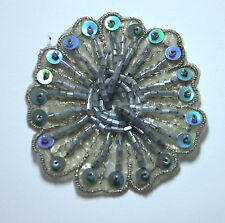 BLUE GREY  BEAD + SEQUIN FLOWER TRIMMING Embroidered Sew On Patch Badge APPLIQUE