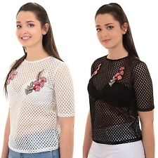 Ladies Short Sleeve Fish Net Mesh Semi Sheer Rose Embroidered T-Shirt Top