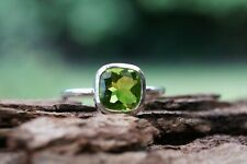 Sterling Silver Ring Peridot Cushion Gemstone 925 Fine Handmade Ring